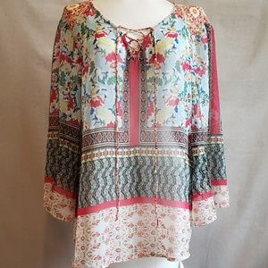 Anthropologie Fig & Flower Semi-sheer BOHO Top L